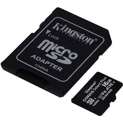 Cartão de memória micro SD 16GB c/ adap classe 10 Kingston BT 1 UN
