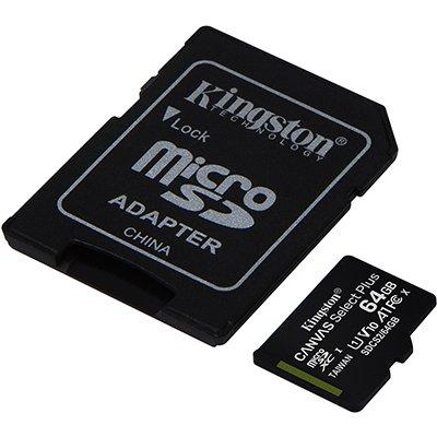 Cartão de memória micro SD 64gb c/adap Classe 10 Kingston BT 1 UN