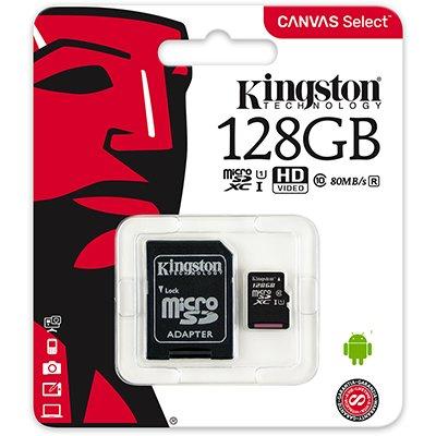 Cartão de memória micro SD 128gb com adaptador Classe 10 Kingston BT 1 UN