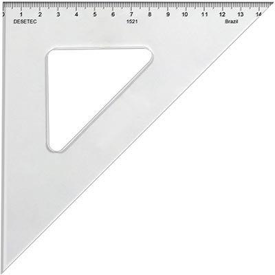 Esquadro 21x45 acrílico com escala cristal 1521 Trident PT 1 UN