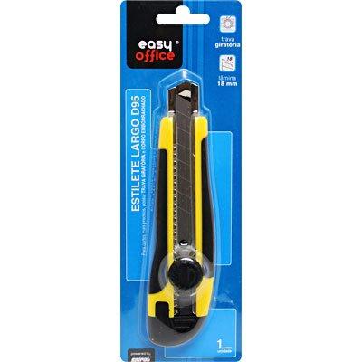Estilete largo plástico profissional c/trava D95 Easy Office BT 1 UN