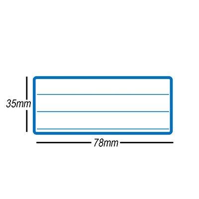Etiqueta adesiva escolar 35x78mm c/ pauta c/ tarja azul OP3578 Pimaco PT 15 UN