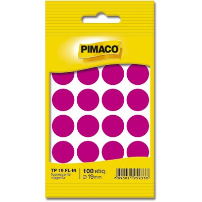 Etiqueta adesiva p/ codificação 19mm magenta TP19FLM Pimaco PT 100 UN