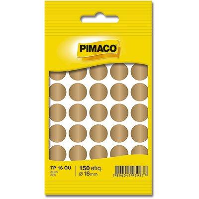 Etiqueta adesiva p/ codificação 16mm ouro TP16OU Pimaco PT 150 UN
