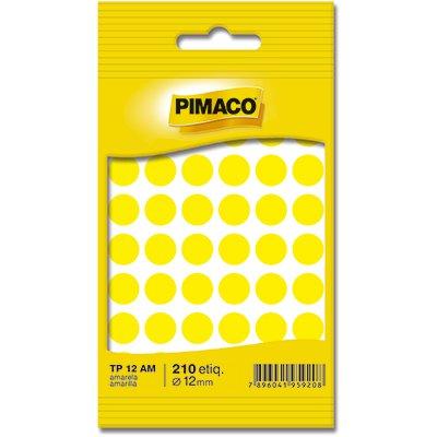Etiqueta adesiva p/ codificação 12mm amarela TP12AM Pimaco PT 210 UN