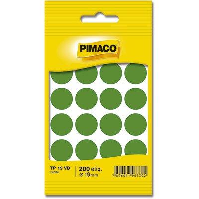 Etiqueta adesiva p/ codificação 19mm verde TP19VD Pimaco PT 200 UN
