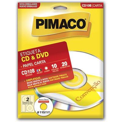 Etiqueta ink-jet/laser Carta para Cds e Dvds CD10B Pimaco PT 20 UN