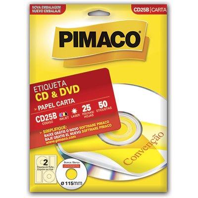 Etiqueta ink-jet/laser Carta para Cds e Dvds CD25B Pimaco PT 50 UN