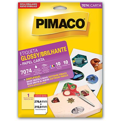 Etiqueta ink-jet/laser glossy Carta 104g 279,4x215,9 7074 Pimaco PT 10 UN