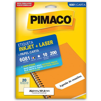 Etiqueta ink-jet/laser Carta 25,4x101,6 6081 Pimaco PT 200 UN