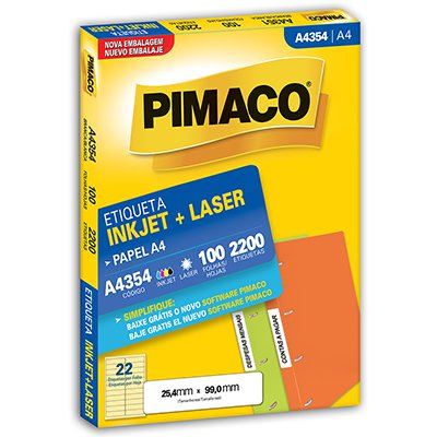 Etiqueta ink-jet/laser A4 25,4x99,0 354 Pimaco PT 2200 UN