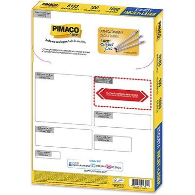 Etiqueta ink-jet/laser Carta 50,8x101,6 6183 Pimaco PT 1000 UN