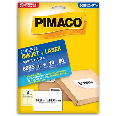Etiqueta ink-jet/laser Carta 59,3x85,7 6095 Pimaco PT 80 UN