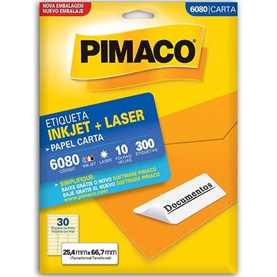Etiqueta ink-jet/laser Carta 25,4x66,7 6080 Pimaco PT 300 UN