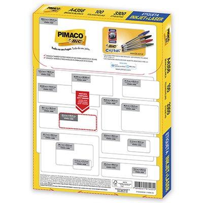 Etiqueta ink-jet/laser A4 25,4x63,5 356 Pimaco PT 3300 UN