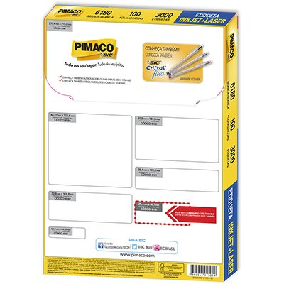 Etiqueta ink-jet/laser Carta 25,4x66,7 6180 Pimaco PT 3000 UN