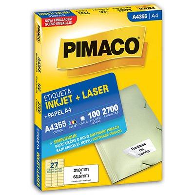 Etiqueta ink-jet/laser A4 31,0x63,5 355 Pimaco PT 2700 UN
