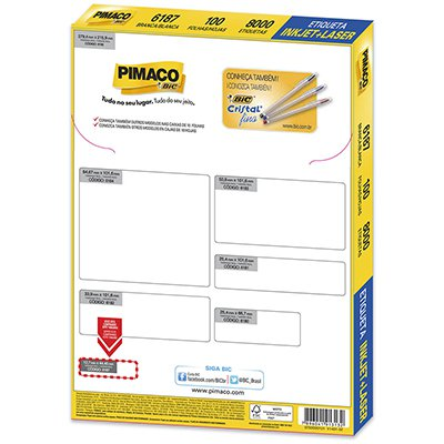 Etiqueta ink-jet/laser Carta 12,7x44,4 6187 Pimaco PT 8000 UN