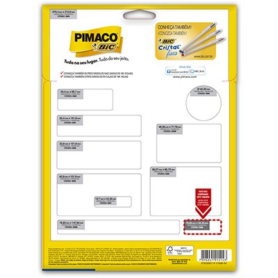 Etiqueta ink-jet/laser Carta 16,93x44,45 6089 Pimaco PT 600 UN