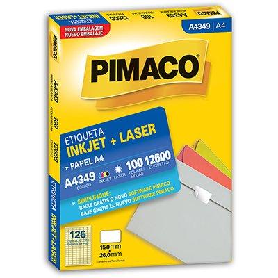 Etiqueta ink-jet/laser A4 15,0x26,0 349 Pimaco PT 12600 UN
