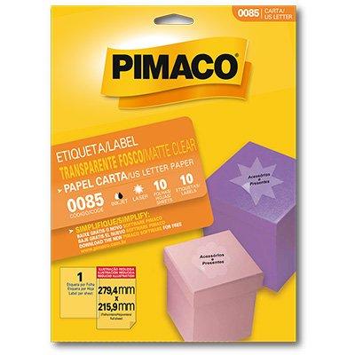Etiqueta ink-jet/laser Carta 279,4x215,9 transparente 85 Pimaco PT 10 UN