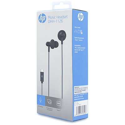 Fone de ouvido Intra Auricular com microfone preto USB Tipo-C DHH-1126 HP - 194R4AA CX 1 UN