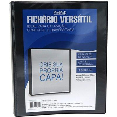 Fichário 4 argolas PVC ofício lombada 4.0 preto 320 Plastpark PT 1 UN