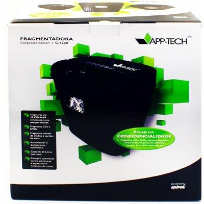 Fragmentadora de papel  12 folhas em partículas / CD / Cartão com cesto 110v C1200 App-tech CX 1 UN