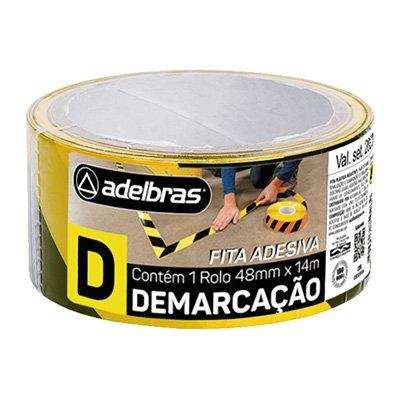 Fita adesiva demarcação solo 48mmx14m zebrada pt/am Adelbras PT 1 UN