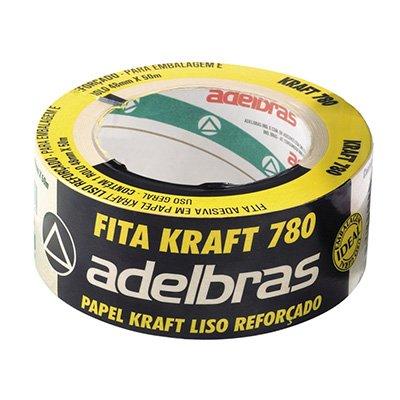 Fita adesiva papel kraft liso reforçado Sleeve 48x50m 780 Adelbras PT 1 UN