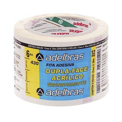 Fita adesiva dupla face pp 12mmx30m c/ adesivo acrílico Adelbras PT 6 UN