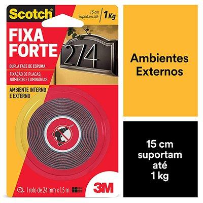 Fita adesiva dupla face espuma Uso Externo Fixa Forte 24mmx1,5m Scotch 3M BT 1 UN