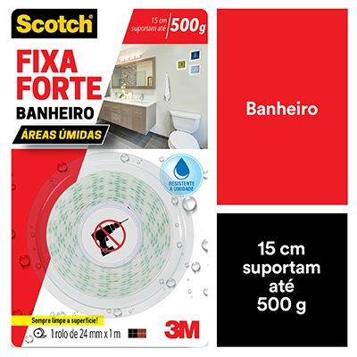 Fita adesiva dupla face Fixa Forte Banheiro 24mmx1m Scotch 3M BT 1 UN