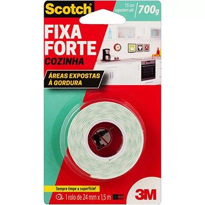 Fita adesiva dupla face Fixa Forte Cozinha 24mmx1,5m Scotch 3M BT 1 UN