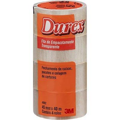 Fita adesiva pp 45mmx40m transparente Durex 3M PT 4 UN