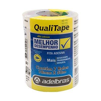 Fita adesiva pp 18mmx50m Qualitape transparente Adelbras PT 7 UN