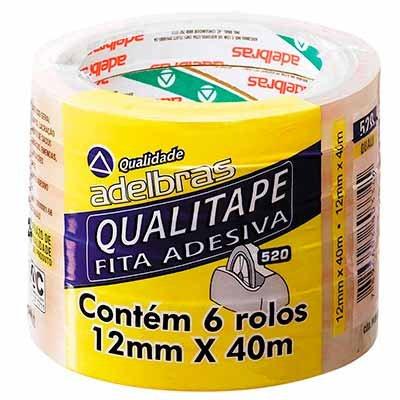 Fita adesiva pp 12mmx40m Qualitape transparente Adelbras PT 6 UN