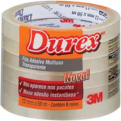Fita Adesiva Durex Transparente - 12 mm x 50 m - 6 rolos PT 6 UN