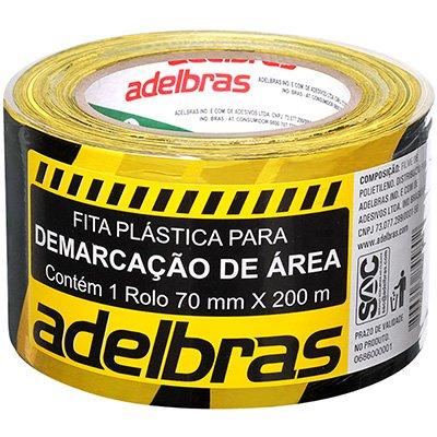 Fita p/ demarcação área 70mmx200m zebrada preto/amarelo Adelbras PT 1 UN