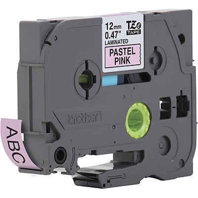 Fita para rotulador Brother TZe-MQE31 rosa pastel escrita preta plástica laminada Brother CX 1 UN