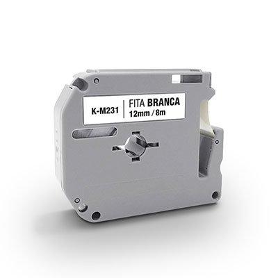 Fita para rotulador Brother K-M231 branca escrita preta plástica App-tech BT 1 UN