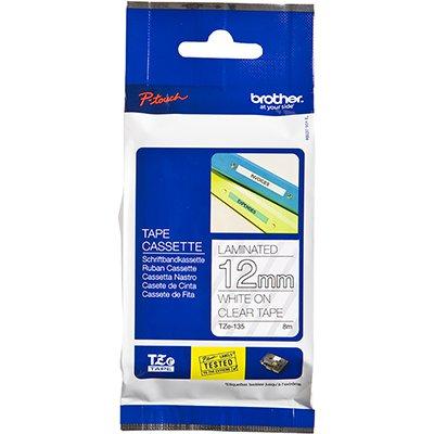 Fita para rotulador Brother TZe-135 transparente escrita branca plástica laminada Brother BT 1 UN