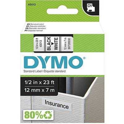 Fita para rotulador Dymo 45013 branca escrita preta plástica Dymo BT 1 UN