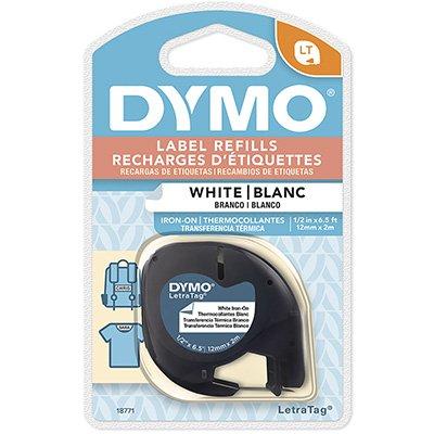 Fita para rotulador Dymo 18771 branca escrita preta tecido Dymo BT 1 UN