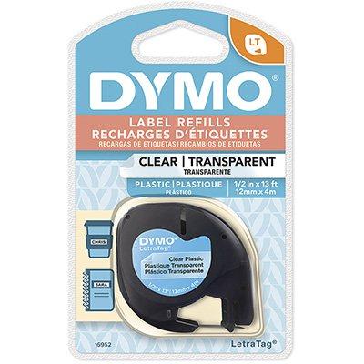 Fita para rotulador Dymo 16952 transparente escrita preta plástica Dymo BT 1 UN