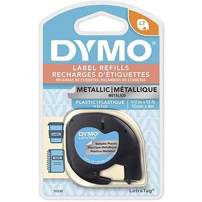Fita para rotulador Dymo 91338 prata escrita preta plástica Dymo BT 1 UN