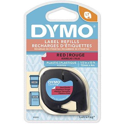 Fita para rotulador Dymo 91333 vermelha escrita preta plástica Dymo BT 1 UN