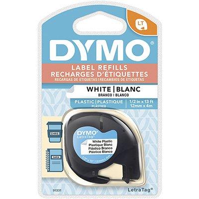 Fita para rotulador Dymo 91331 branca escrita preta plástica Dymo BT 1 UN