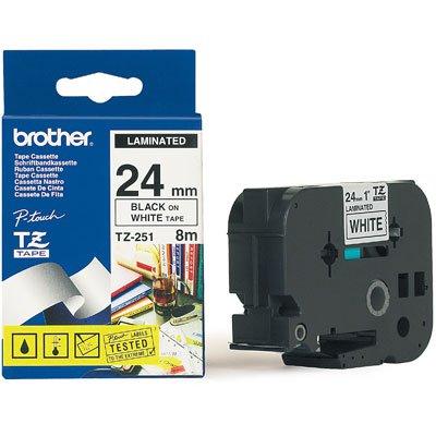 Fita para rotulador Brother TZe-251 branca escrita preta plástica laminada Brother BT 1 UN