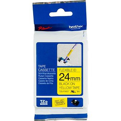 Fita para rotulador Brother TZe-FX651 amarela escrita preta plástica laminada flexível Brother BT 1 UN